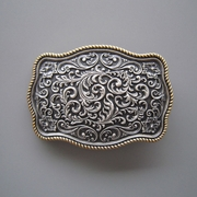 New Double Color Plated Silver Southwest Carve Flower With Gold Edge Belt Buckle