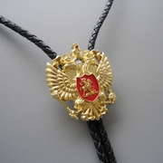 New Jeansfriend Original Gold Plated Russian Double Headed Empire Eagle Rhinestone Bolo Tie Wedding Leather Necklace