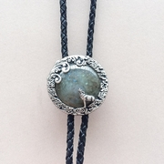 Original Handcraft Nature Labradorite Stone Moon Wolf Oval Wedding Bolo Tie