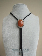 New Original Nature Red Aventurine Stone Wedding Oval Bolo Tie Necklace