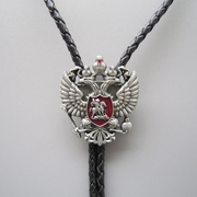 New Jeansfriend Original Classic Russian Double Headed Empire Eagle Rhinestone Bolo Tie Wedding Leather Necklace
