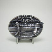 New Original Vintage Silver Plated Golf Sports Oval Belt Buckle Gurtelschnalle Boucle de ceinture