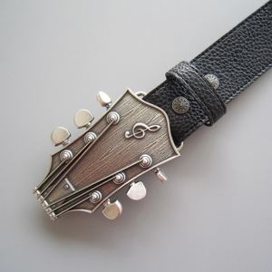 Original Silver Plated Guitar Music Belt Buckle W Black Synthetic Leather Belt