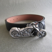 Original Silver Plated Heavy Motorcycle Biker Rider Belt Buckle W Black Synthetic Leather Belt