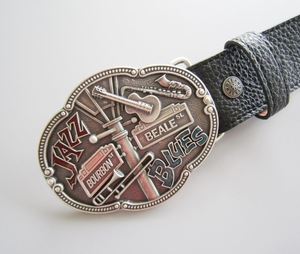 Silver Plated Jazz Country Music Belt Buckle W Black Synthetic Leather Belt