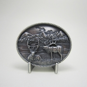 New Vintage Silver Plated Western Deer Wild Life Oval Belt Buckle