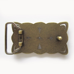New JEAN'S FRIEND Original Vintage Bronze Rectangle Cross Celtic Knot Western Belt Buckle