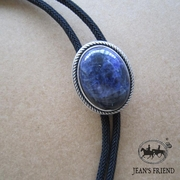New JEAN'S FRIEND Original Nature Blue Plessite Stone Oval Wedding Bolo Tie Necklace