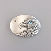 Original Vintage Silver Plated Oval Sun Eagle Blue Eye Belt Buckle Gurtelschnalle Boucle de ceinture BUCKLE-WT149SL-BL