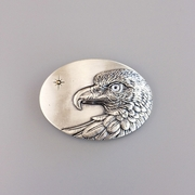 Original Vintage Silver Plated Oval Sun Eagle Grey Eye Belt Buckle Gurtelschnalle Boucle de ceinture BUCKLE-WT149SL-GY