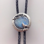 Original Wolf Handcraft Nature India Labradorite Stone Round Wedding Men Bolo Tie