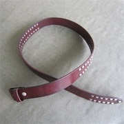 New JEAN'S FRIEND Classic Brown Studded Solid Real Leather Genuine Leather Belt Gurtel