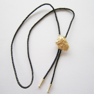 New Jeansfriend Original Gold Plated Western Wolf Bolo Tie Wedding Leather Necklace