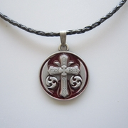 Red Enamel Iron Cross Totem Metal Charm Pendant Leather Necklace