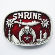 Red Enamel Shrine Temple Belt Buckle Gurtelschnalle Boucle de ceinture