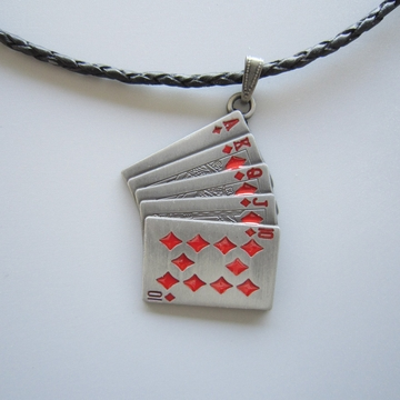 Red Enamel Royal Flush Poker Card Metal Charm Pendant Leather Necklace