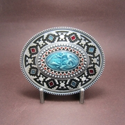 New Classic Vintage Silver Plated Celtic Totem Oval Southwest Belt Buckle