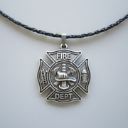 Silver Plated Hero Firefighter Fire Dept Charm Leather Necklace