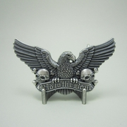 Vintage Silver Plated Bad To The Bone Eagle Skulls Belt Buckle Gurtelschnalle Boucle de ceinture