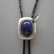 New Jeansfriend Original Vintage Silver Plated Nature Blue Plessite Stone Bolo Tie Wedding Leather Necklace