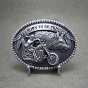 New Vintage Silver Plated Born To Be Free Rider Biker Motorcycle Chains Oval Belt Buckle Gurtelschnalle Boucle de ceinture