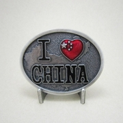 New Jean's Friend Vintage Silver Plated Original China Chinese Flag Oval Belt Buckle Gurtelschnalle Boucle de ceinture