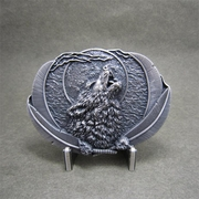 New Classic Vintage Silver Plated Western Moon Wolf Oval Belt Buckle