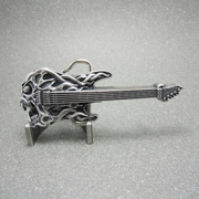 New Vintage Silver Plated Tattoo Skull Guitar Music Belt Buckle Gurtelschnalle Boucle de ceinture BUCKLE-MU024SL
