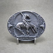 New Vintage Silver Plated End Of The Trail Native American Western Oval Belt Buckle Gurtelschnalle Boucle de ceinture