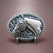 Vintage Silver Plated Horse Head Western Cowboy Belt Buckle