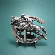 New Vintage Silver Plated Horse Jumping Sports Belt Buckle Gurtelschnalle Boucle de ceinture