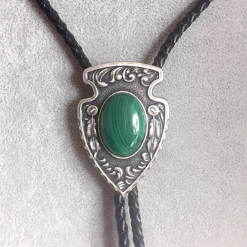 Vintage Silver Plated Arrow Nature Malachite Stone Bolo Tie Leather Necklace