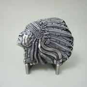 New Vintage Silver Plated Native Chief Western Belt Buckle Gurtelschnalle Boucle de ceinture