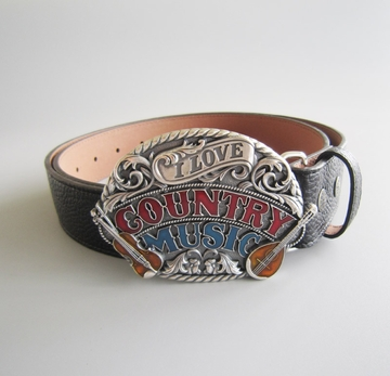 Silver Plated Love Country Music Guitar Belt Buckle W Black Synthetic Leather Belt