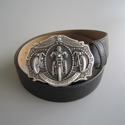 Silver Plated Motorcycle Chain Rider Biker Belt Buckle W Black PU Leather Belt