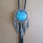 Vintage Silver Plated Oval Nature Turquoise Stone Bolo Tie Western Wedding Necklace