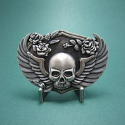New Vintage Silver Plated Punk Flowers Wings Emo Skull Belt Buckle