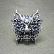 New Jeansfriend Original Vintage Silver Plated Imitate Plastic Peal Rhinestones Dragon Belt Buckle