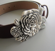 Silver Plated Sculpting Rose Flower Belt Buckle W RedPU Leather Belt