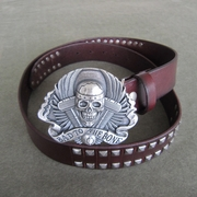 Silver Plated Skull Biker Rider Belt Buckle W Brown Studded Genuine Leather Belt Gurtel