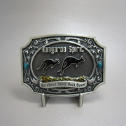 New Vintage Silver Plated Go Ahead Never Back Down Australia Kangaroo Belt Buckle