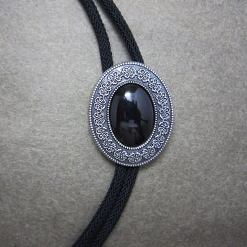 Vintage Silver Plated Black Agate Celtic Bolo Tie With Sky Systems Fiber Rope