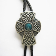 New Vintage Silver Plated Celtic Blue Enamel Iron Cross Knot Wedding Bolo Tie