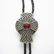 New Vintage Silver Plated Celtic Red Enamel Cross Knot Wedding Bolo Tie