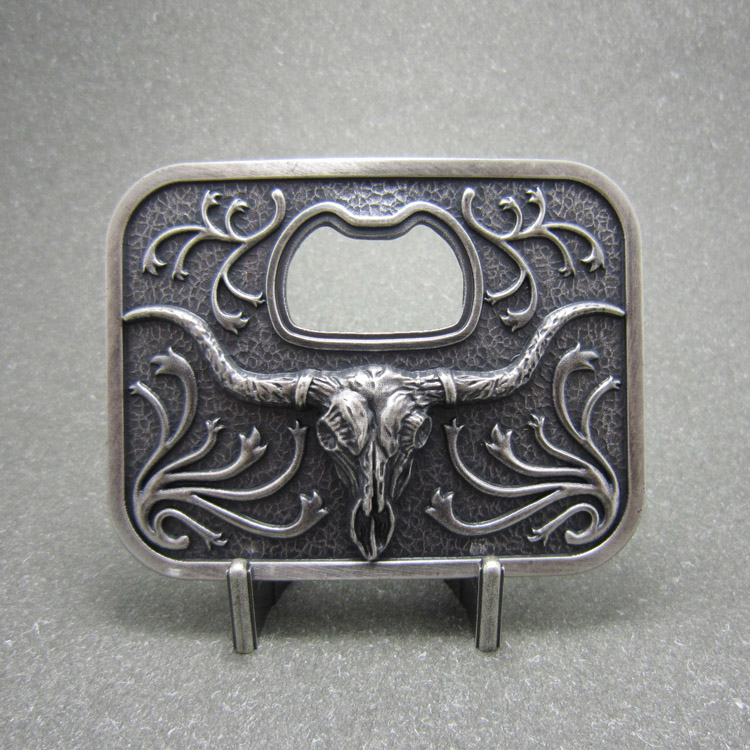 vintage silver plated western cowboy long horn bull beer bottle opener belt buckle. Black Bedroom Furniture Sets. Home Design Ideas