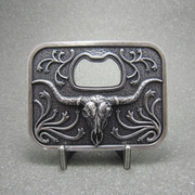 Vintage Silver Plated Western Cowboy Long Horn Bull Beer Bottle Opener Belt Buckle