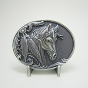 New Vintage Silver Plated Rodeo Horse Head Western Oval Belt Buckle Gurtelschnalle Boucle de ceinture