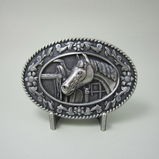 New Vintage Silver Plated Horse Head Saddle Western Oval Belt Buckle Gurtelschnalle Boucle de ceinture