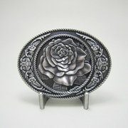 New Vintage Silver Plated Western Rose Oval Belt Buckle Gurtelschnalle Boucle de ceinture