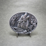 Classic New Vintage Silver Plated Western Shout Wolf Oval Belt Buckle